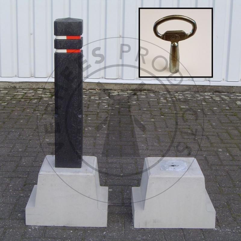 Kunststof Afneembare Verkeer afzetpaal inclusief betonvoet met sleutel