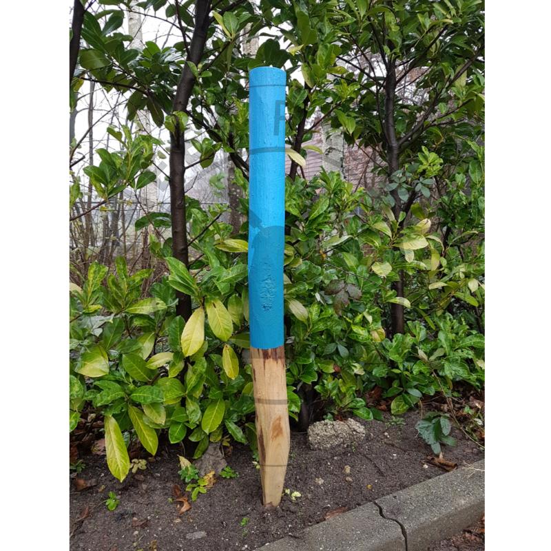 Houten Routepaal blauw geschilderd