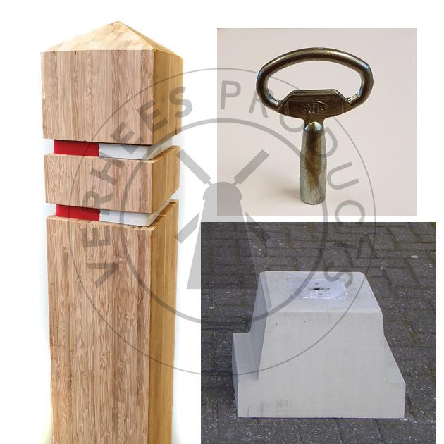 Bamboe Afneembare Verkeer afzetpaal incl. betonvoet met sleutel