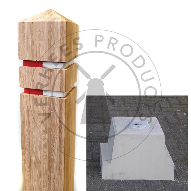 Bamboe Afneembare Verkeer afzetpaal incl. betonvoet