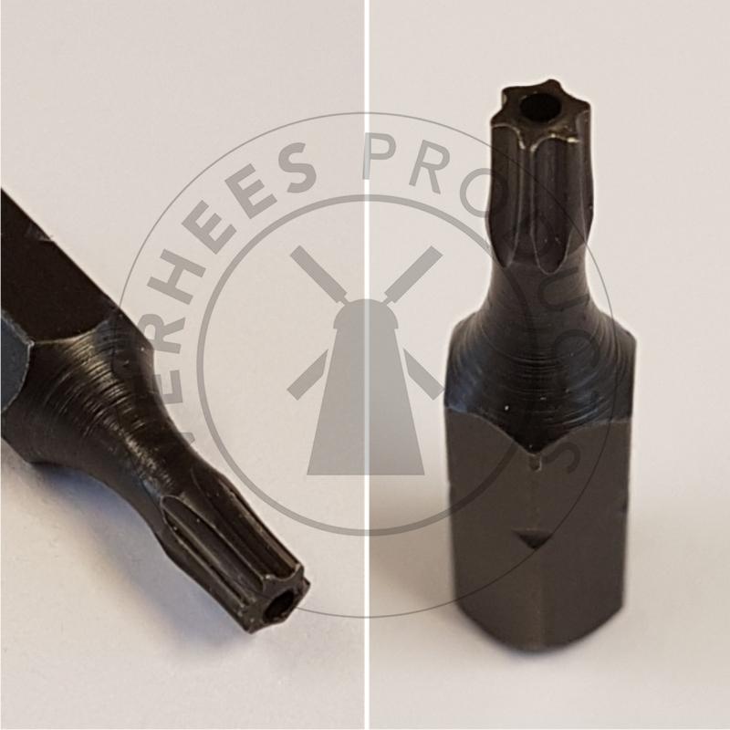Bitje Torx met pin voor veiligheidsschroeven Bolkop RVS en pin 4,2x19 mm (p/5st.)